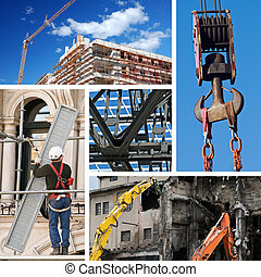 collage, industrie, bouwsector