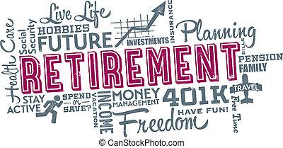 collage, pensioen, planning, woord