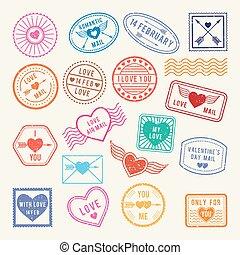 communie, liefde, romantische, ouderwetse , vector, ontwerp, stamps., plakboek, brieven, post, of