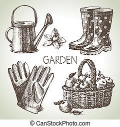 communie, set., tuinieren, schets, ontwerp, hand, getrokken