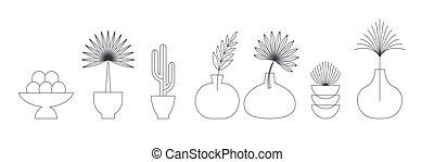 communie, symbolen, ontwerp, bladeren, geometrisch, iconen, boheems, lineair, abstract, planten, logos, voorbeelden, palmen, decoration.