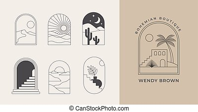 communie, symbolen, ontwerp, geometrisch, iconen, boheems, lineair, abstract landschap, logos, voorbeelden, vensters, boog, decoration.