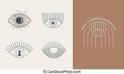 communie, symbolen, ontwerp, geometrisch, iconen, boheems, zon, lineair, abstract, logos, voorbeelden, decoration.