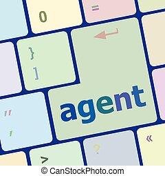 computer, knoop, illustratie, vector, agent, toetsenbord
