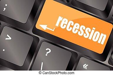 computer, knoop, klee, illustratie, recessie, vector, toetsenbord