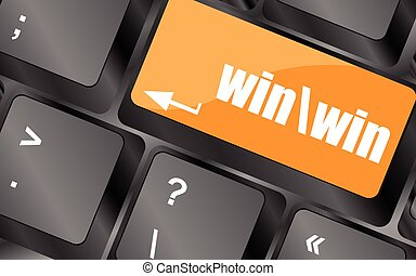 computer, winnen, knoop, toetsenbord, illustratie, vector, klee