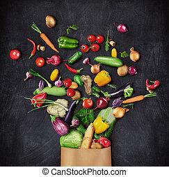 concept., achtergrond., geregen, papier, voedingsmiddelen, eten, zak, gezonde , donker