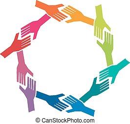 concept, groep, oh, mensen, teamwork, handen, circle.
