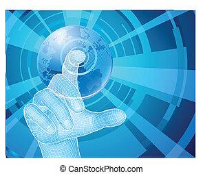 concept, het selecteren, globe, hand, achtergrond, wereld