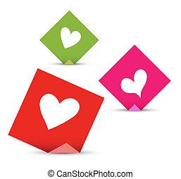 concept, liefde, opmerkingen, valentijn, vector, hearts., papieren, set, kleverig