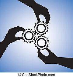 concept, success., succes, mensen, samenwerking, team, samenwerken, illustratie, omvat, silhouettes, grafisch, teamwork, samen, holdingshanden, hand, tandwielen, het indiceren, aansluiting
