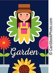 concept, tuin, pot, bloem girl, bloemen, tuinman