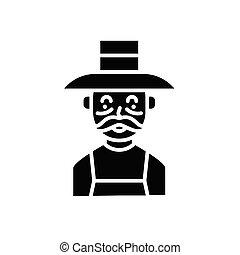 concept., vector, black , symbool, plat, pictogram, bejaarden, meldingsbord, farmer, illustration.
