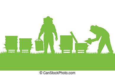 concept, werkende , poster, vector, ecologie, achtergrond, bijenstal, kaart, beekeepers