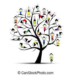 concept, yoga, praktijk, boompje, ontwerp, jouw