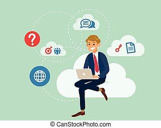 concept, zakelijk, gegevensverwerking, draagbare computer, zittende , jonge, gebruik, technologie, wolk, man