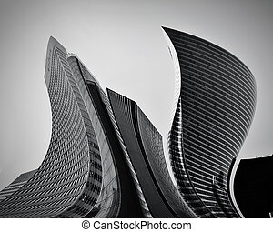 conceptueel, abstract, wolkenkrabbers, zakelijk, architectuur