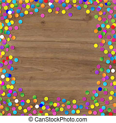 confetti, hout, achtergrond