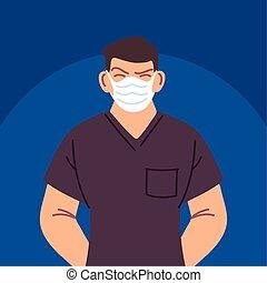 confronteren vermomming, verpleegkundige, gebruik, mannelijke