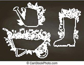 contourlijnen, blackboard., bladeren, aanplakbiljeten, watering, set., krijt, tuinieren, kruiwagen, laars, groenteblik, verzameling, flowers., affiches, typografie