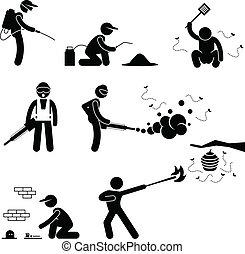controle, exterminator, pest, mensen