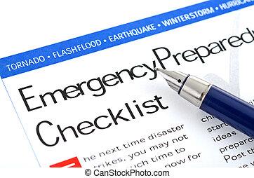 controlelijst, voorbereidheid, noodgeval
