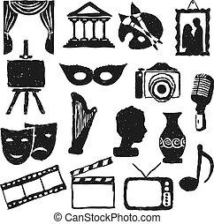 cultuur, doodle, afbeeldingen