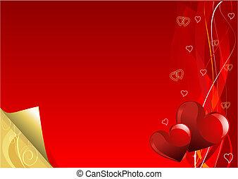 dag, goud, achtergrond, valentijn, rood