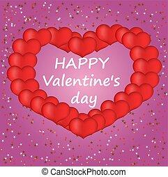 dag, hartjes, illustratie, vector, kaart, valentines