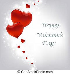 dag, kaart, hartjes, valentines