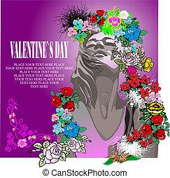 dag, valentine`s, kaart, floral, groet