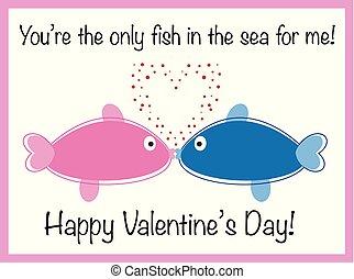 dag, valentines, vrolijke , visje
