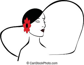 dames, silhouette, hoofd