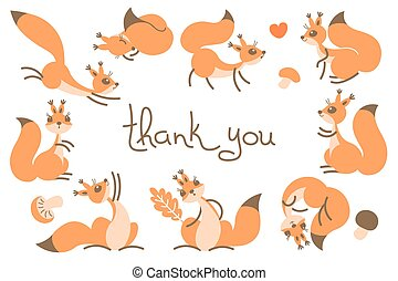 danken, kaart, schattig, squirrels., u