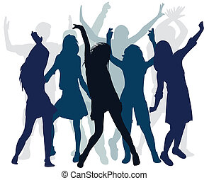 dans, mensen, silhouette