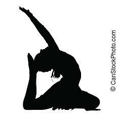 dans, turnoefening, acrobatisch, silhouette, routine
