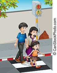 de kruising van straat, gezin