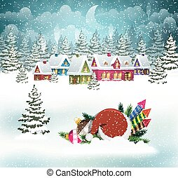 de scène van kerstmis, dorp, winter