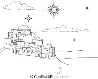 de scène van kerstmis, geboorte, spotprent, stad, kleuren