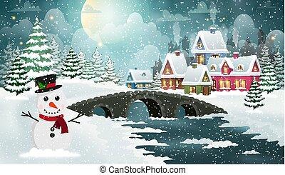 de scène van kerstmis, landscape, winter