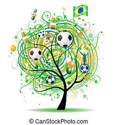 de voetbal van de vlag, boompje, ontwerp, braziliaans