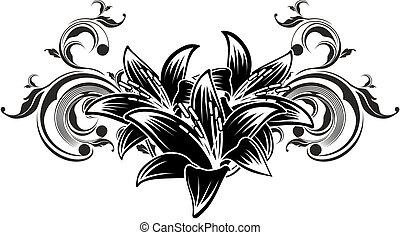 decoratief, bloemen, ontwerp