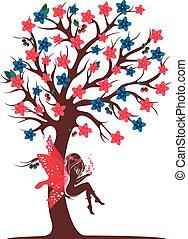 decoratief, boompje, elfje, silhouette