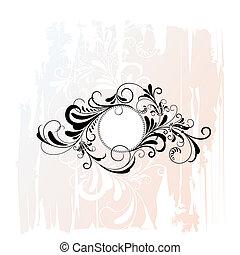 decoratief, floral, cirkel, ornament