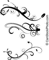 decoratief, flourishes, 2, set