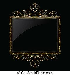 decoratief, frame, black , goud