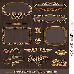 decoratief, gouden, decor, communie, &, vector, ontwerp, pagina