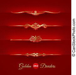 decoratief, gouden, dividers, set