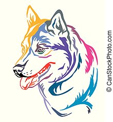 decoratief, kleurrijke, siberisch, illustratie, dog, vector, verticaal, husky