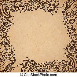 decoratief, stijl, oud, ouderwetse , frame, textuur, hand, papier, victoriaans, vector, scrapbooking, illustratie, achtergrond, floral, getrokken, pagina